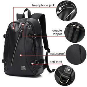 Men-PU-Leather-Backpack-Business-Travel-School-Laptop-Notebook-Bag-Book-Rucksack