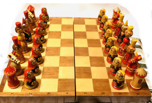 Wooden Soviet Chess Set Matryoshka Style Vintage Russian Antique Made in USSR