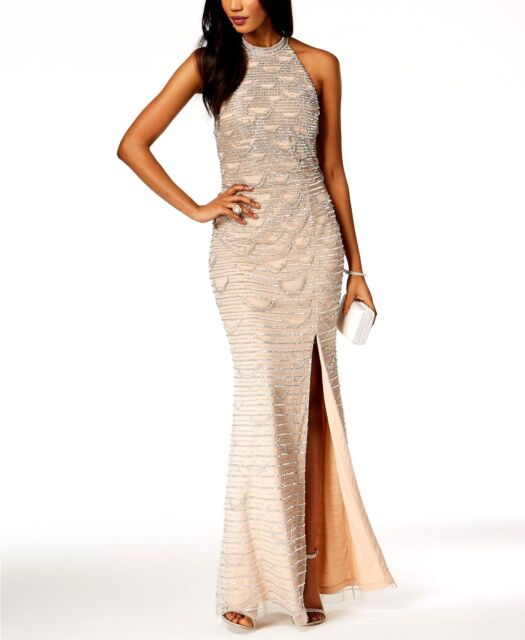 Adrianna Papell Womens Beige Beaded Sequined Mesh Slit Halter Dress ...