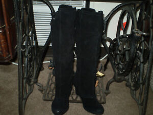 NAUGHTY-MONKEY-WOMENS-BLACK-SUEDE-KNEE-WEDGE-PULL-ON-BOOTS-SIZE-6-5