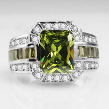 Fashion Green Peridot  Birthstone Silver Filled Wedding Bridal Ring Gift  Size 8