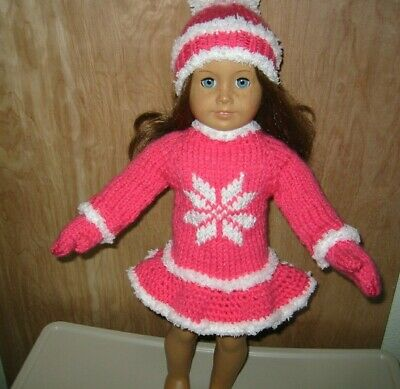 """Sparkly Pink Crochet Beanie Hat 18/"""" Doll Clothes Fits American Girl Dolls"""