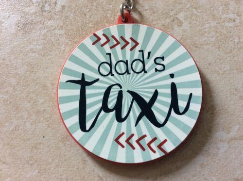 """Nouveau bleu blanc /& rouge /""""Dad/'s Taxi/"""" Voiture Porte-clés Key Ring Fob Fête des Pères Anniversaire"""