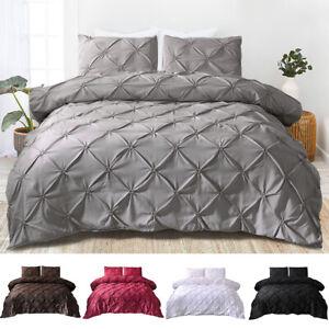 Pinch-Pleat-Pintuck-Duvet-Comforter-Cover-Pillowcase-Bedding-Set-Twin-Queen-King