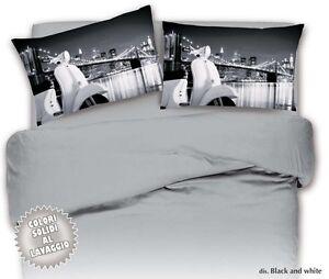Copripiumino Bianco E Nero.Parure Copripiumino Matrimoniale 2 Piazze Vespa Bianco E Nero