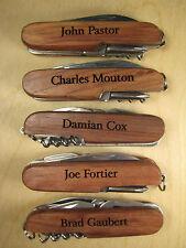Personalized Engraved 8 Function Wood Pocket Knife Groomsman Ring Bearer Gift