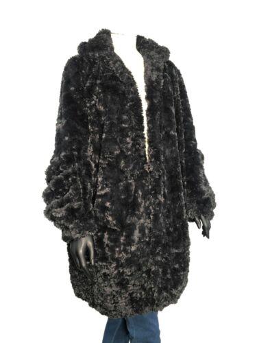 Anna Sui Black Faux Fur Swing Blouson Coat SZ 6