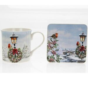 Christmas-Xmas-Robin-Lamp-Post-Snow-Scene-Mug-And-Coaster-Boxed-LP51001