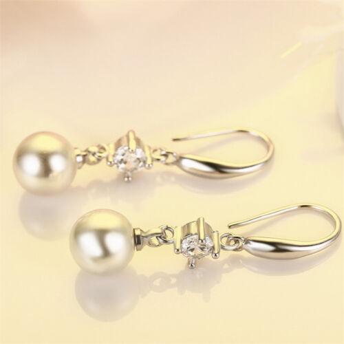 Para mujeres Plata Esterlina 925 Cristal Perla Gota cuelgan pendientes Joyería de Moda OL