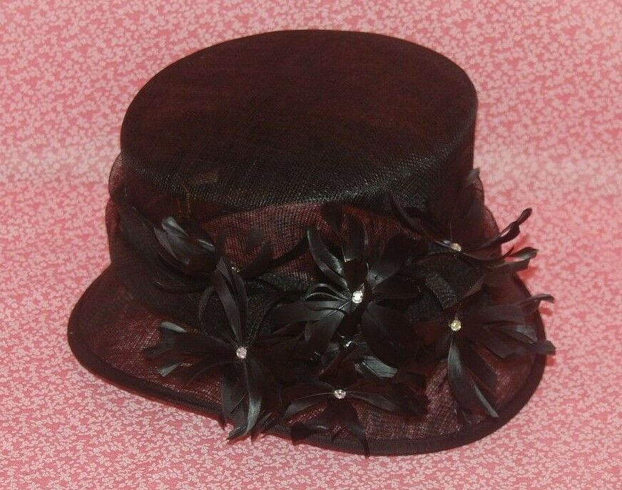 Special Occasion Sinamay Black Feathers Decoration Neat Brim Hat. BNWT