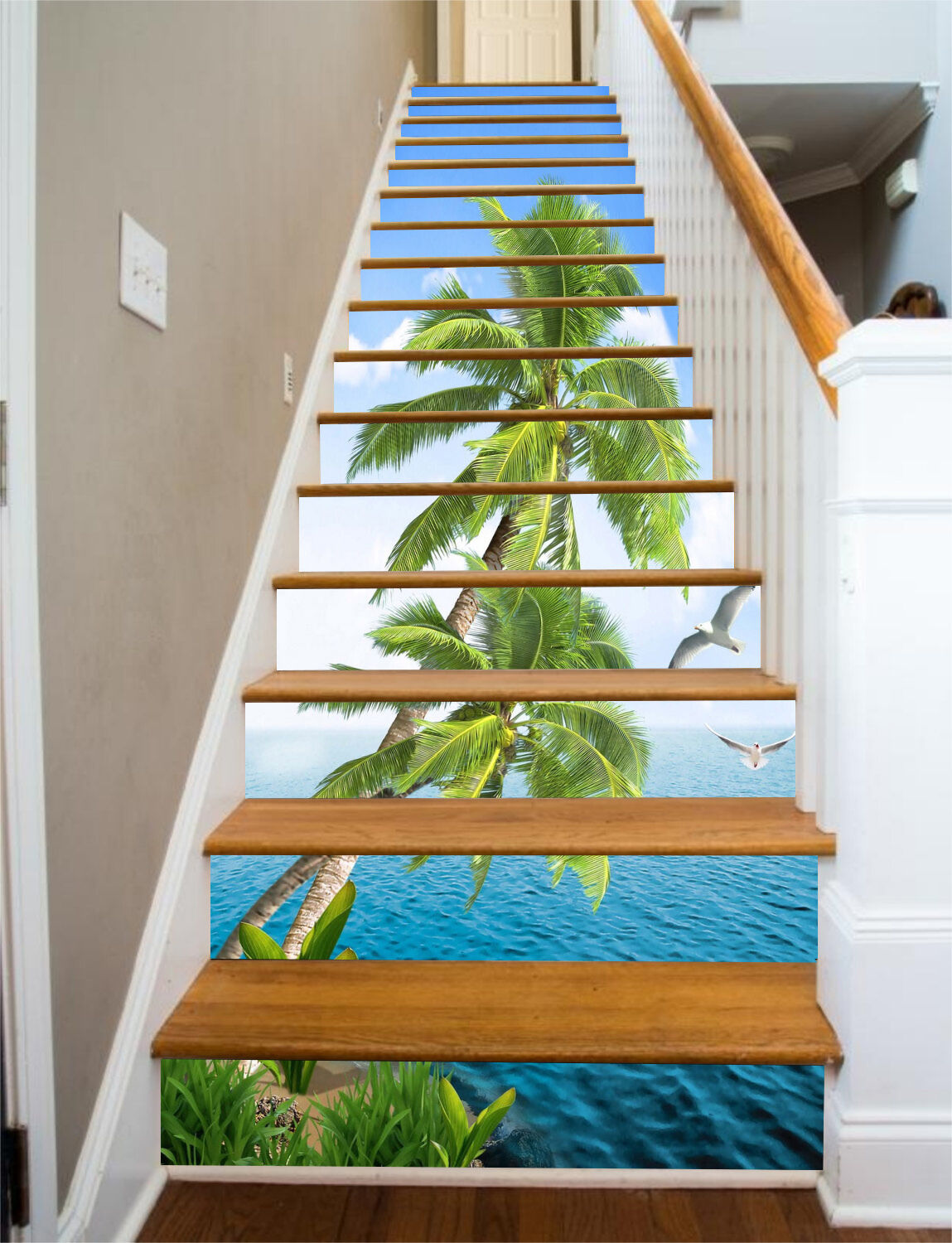 3D Coco sky 2 Stair Risers Decoration Photo Mural Vinyl Decal Wallpaper UK