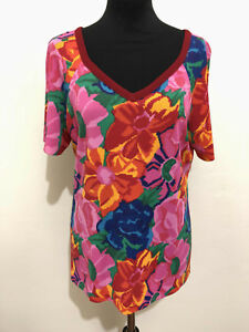 ROCCOBAROCCO-VINTAGE-039-80-Maglietta-Donna-Rayon-Flower-WomanT-Shirt-Sz-M-44