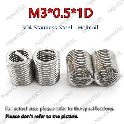 50pcs New M3*0.5 1D insert length helicoil Stainless Steel Screw Thread insert