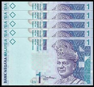 Malaysia-RM1-11th-Series-Zeti-Paper-5pcs-Running-Number-UNC-2000-1