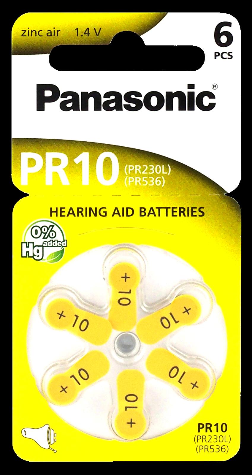 120 x Hörgerätebatterien Panasonic 10 Gelb Batterien Hörgeräte 75mAh PR536 PR230
