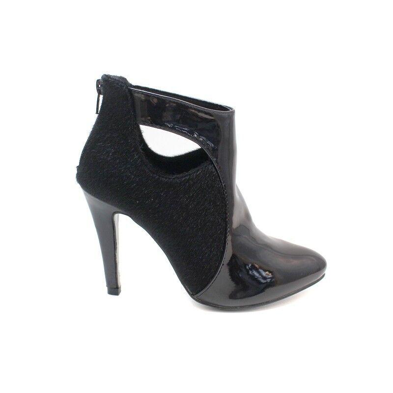 Licean Faux Pony Skin Black Cut Out Ankle Boots UK6.5 EU40 JS24 70