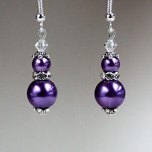 Crystals Vintage Silver Drop Earrings