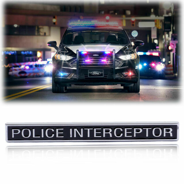 Matte Black Interceptor Hood Emblem Sticker Decal Badge Front Letter Fit for Police Interceptor