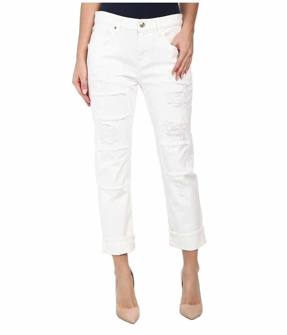 7 FOR ALL MANKIND WHITE PATCHES RELAXED SKINNY GIRLFRIEND JEANS Size 26, White