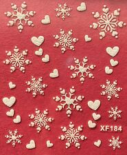 Nail Art 3D Decal Stickers White Snowflakes & Hearts Christmas Winter Xmas XF184