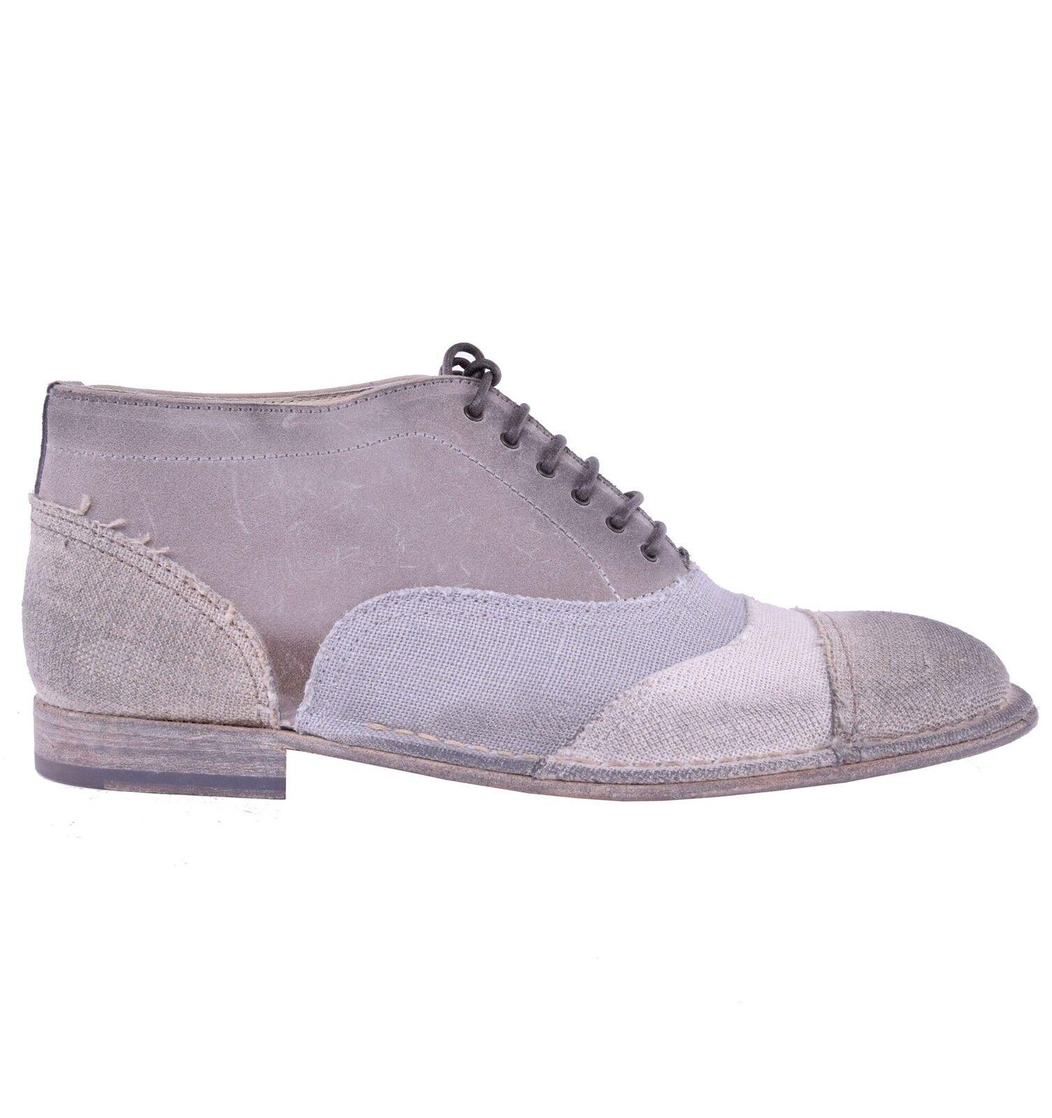 DOLCE & GABBANA Hohe Patchwork Schuhe Grau Beige High-Top Shoes Grey 03876