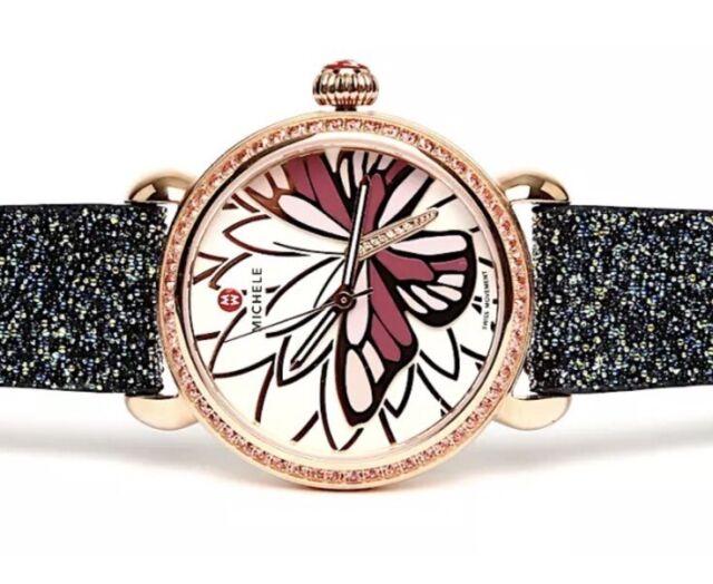 e9d9cca38ce79 MICHELE Watches Garden Party Rose Gold Diamond CSX Butterfly Watch  MW05D36B4995
