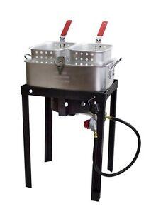 50 000 btu 18 qt propane gas dual basket deep fryer for Fish fryer basket