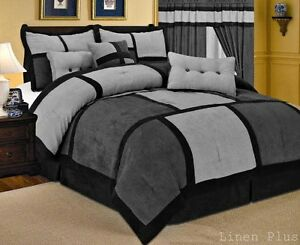Gray Black Micro Suede Comforter Set Curtain Sheet Set Cal King