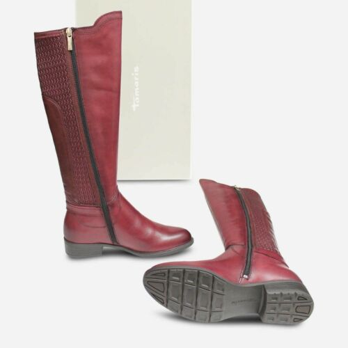 Tamaris acolchado elástico de la rodilla Botas altas en cuero Burdeos