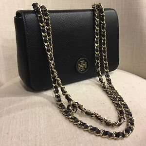 095856e7c74 Image is loading Tory-Burch-Whipstitch-Logo-Adjustable-Chain-Crossbody-Bag-