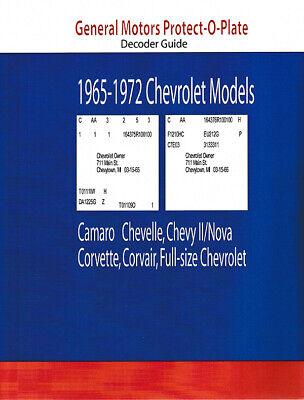 Camero Chevelle Impala Nova Corvette Corvair Protect O Plate Decoder 1965-1972