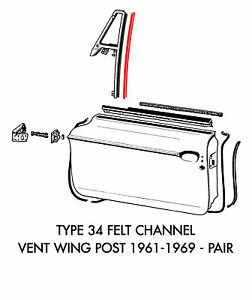 New VW Type 34 Right Vent Wing Seal 1961-1969