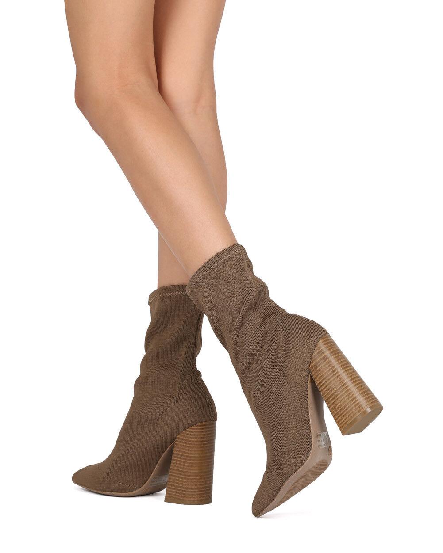 New Women Wild Diva Lust-01 Fabric Pointy Toe Block Heel Sock Boot