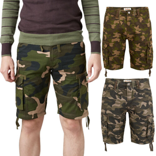 Mens Army Camo Cargo Camouflage Shorts Stallion Casual Cotton Combat Chino New