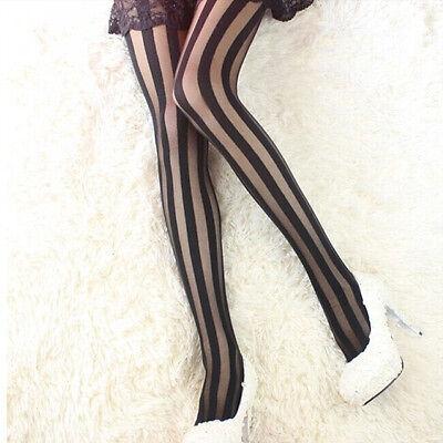 Women Fashion Sexy Black Stripes Pattern Stockings Tights Leggings Pantyhose