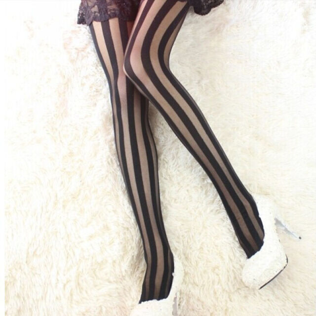 Women Fashion Sexy Black Stripes Pattern Stockings Tights Leggings Pantyhose