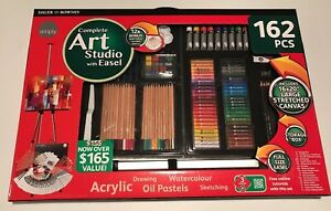 Details About Complete Art Studio With Easel Daler Rowney Acrylic Oil Pastels Sketching Draw