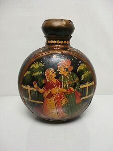 1940-039-s-HAND-PAINTED-INDIA-MUGHAL-TOLEWARE-9-034-TIN-CANTEEN-JUG-VASE