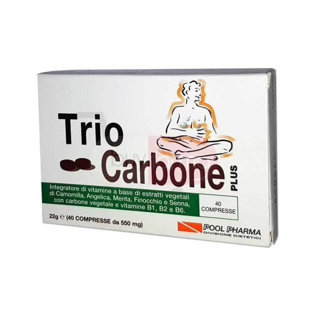 Trio Carbone Plus - Integratore Alimentare di Carbone Vegetale - 40 Compresse