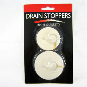 2 X Rubber Drain Stoppers Plugs Large Small Bathtub Bath