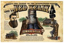 NED KELLY  VINTAGE  TIN SIGN 'The legend of the bush ranger'