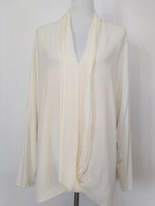 H-By-Halston-Womens-Cream-Drape-Long-Sleeve-V-Neckline-Blouse-Top-Size-XL