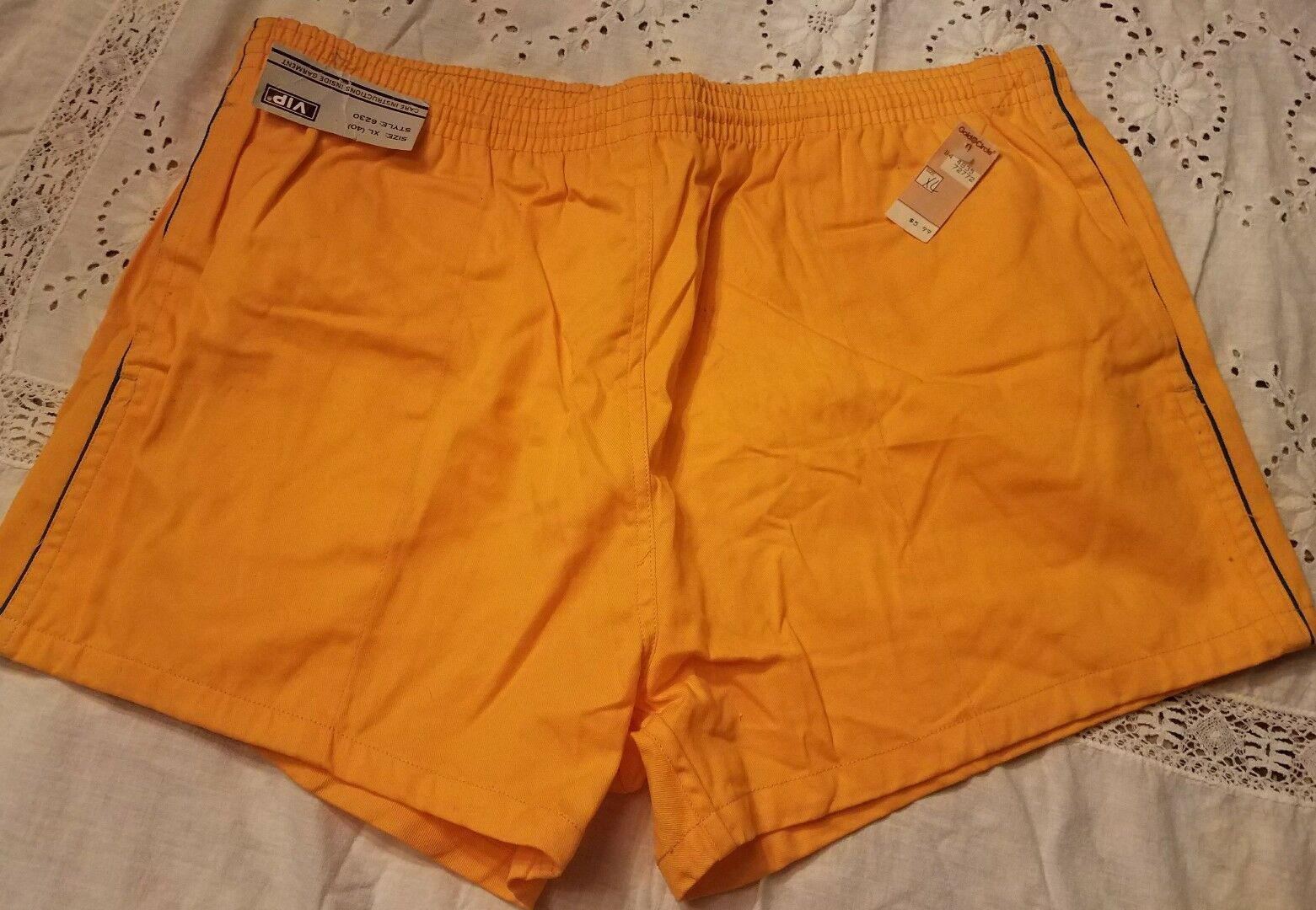 Vintage Men's Shorts Never Worn 70s Size XL 40 Yellow Swim Trunks Running Trunk