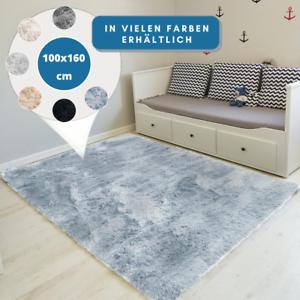 Teppich-Hochflor-100x160-Shaggy-Flokati-Langflor-Fussmatte-Laeufer-Weich-6-Farben