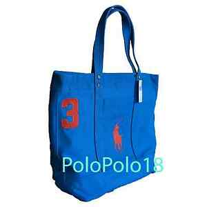 95e4c57559ec Details about New Ralph Lauren Big Pony Tote Bag Polo Canvas Blue
