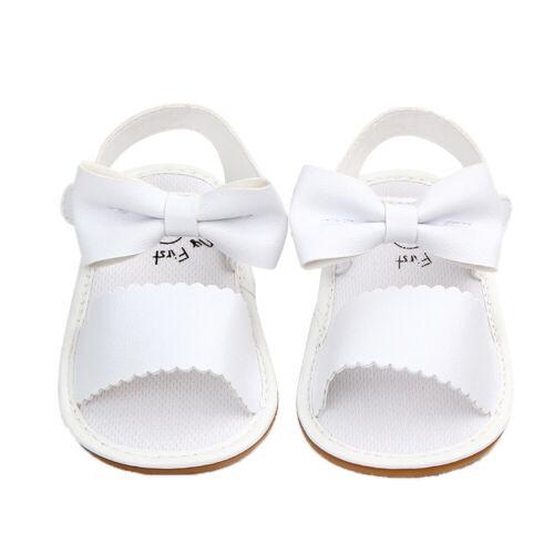 Kid Baby Girl Summer Sandals Anti-slip Prewalker PU Leather Soft Sole Crib Shoes