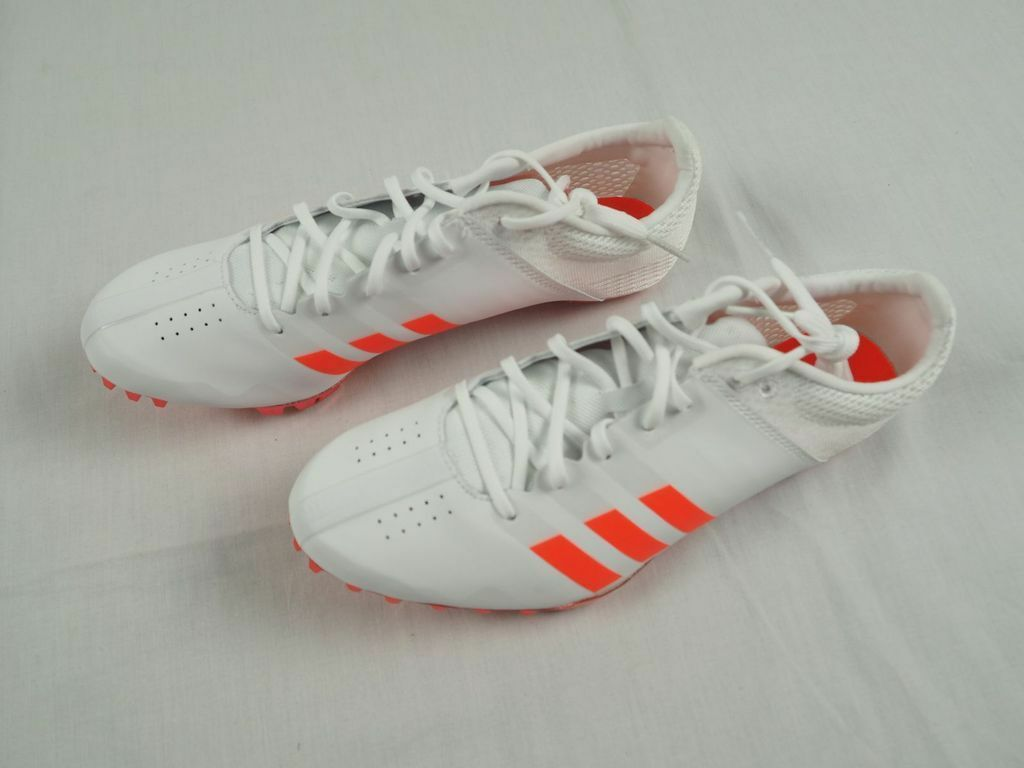 NEW adidas Performance Adizero Finesse Track shoes- White orange (Men's 7)