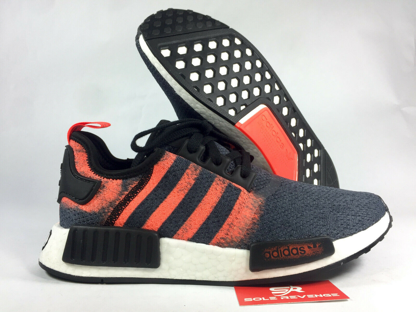 NEW adidas Originals NMD R1 BOOST G27917 Black Solar Red Black   Stencil Pack c1