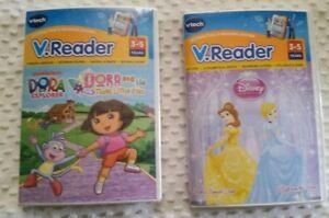 Lot-of-2-V-tech-V-Reader-E-Readers-Dora-the-Explorer-amp-Disney-Tangled-Sealed