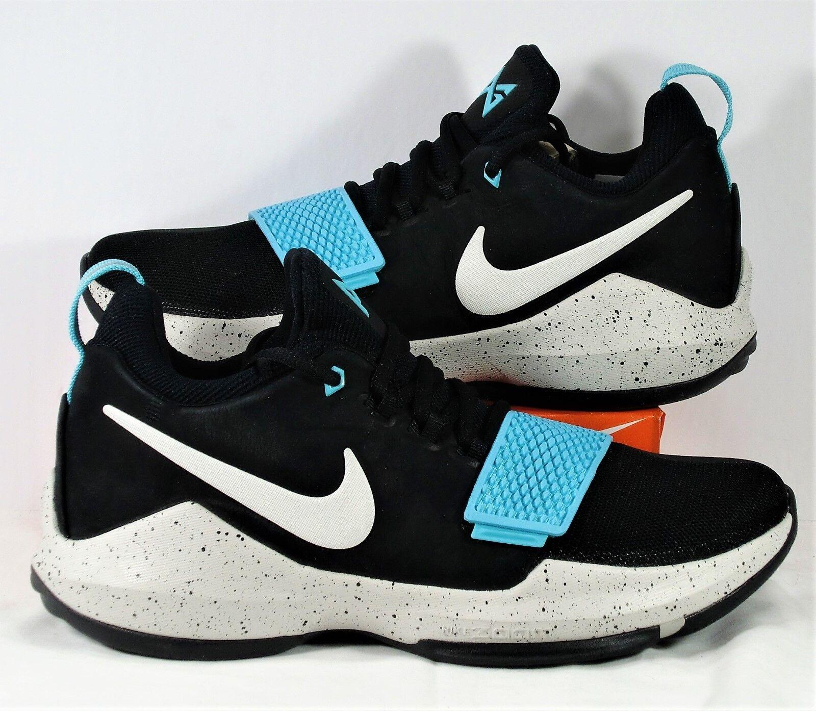 Nike PG 1 Paul George Negro Aqua & Light Bone & Aqua Negro Basketball SZ 9.5 nueva 2156c8